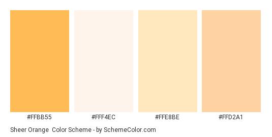 Sheer Orange - Color scheme palette thumbnail - #ffbb55 #fff4ec #ffe8be #ffd2a1