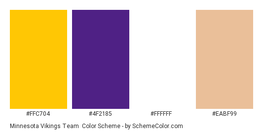 Minnesota Vikings Team - Color scheme palette thumbnail - #ffc704 #4f2185 #ffffff #eabf99