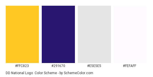 DD National Logo - Color scheme palette thumbnail - #ffc823 #291670 #e5e5e5 #fefaff