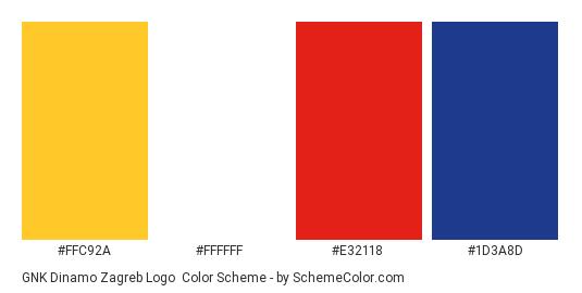 GNK Dinamo Zagreb Logo - Color scheme palette thumbnail - #ffc92a #ffffff #e32118 #1d3a8d
