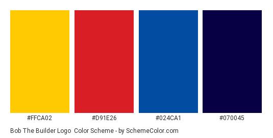 Bob the Builder Logo - Color scheme palette thumbnail - #ffca02 #d91e26 #024ca1 #070045