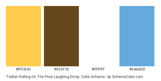 Twitter Rolling on the Floor Laughing Emoji - Color scheme palette thumbnail - #ffcb4c #65471b #ffffff #64aadd