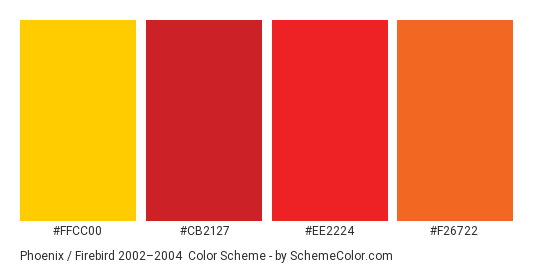 Phoenix / Firebird 2002–2004 - Color scheme palette thumbnail - #ffcc00 #cb2127 #ee2224 #f26722