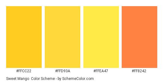 Sweet Mango - Color scheme palette thumbnail - #ffcc22 #ffd93a #ffea47 #ff8242