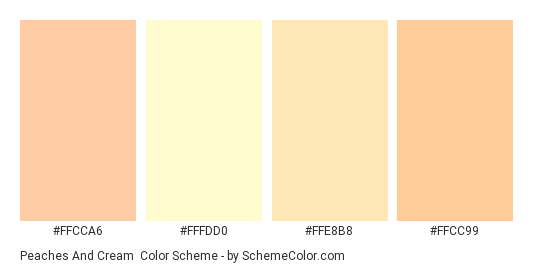 Peaches and Cream - Color scheme palette thumbnail - #ffcca6 #fffdd0 #ffe8b8 #ffcc99