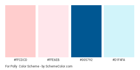 For Polly - Color scheme palette thumbnail - #ffcdcd #ffe6eb #005792 #d1f4fa