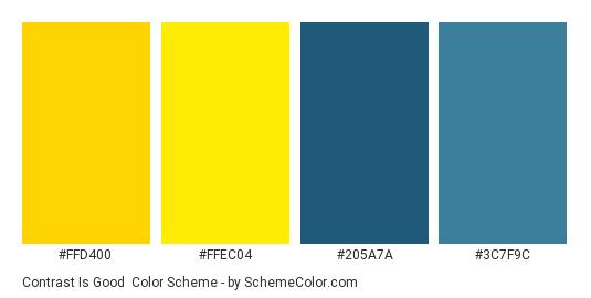 Contrast Is Good Color Scheme Palette Thumbnail Ffd400 Ffec04 205a7a