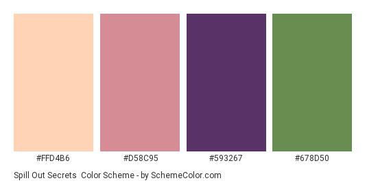 Spill Out Secrets - Color scheme palette thumbnail - #ffd4b6 #d58c95 #593267 #678d50