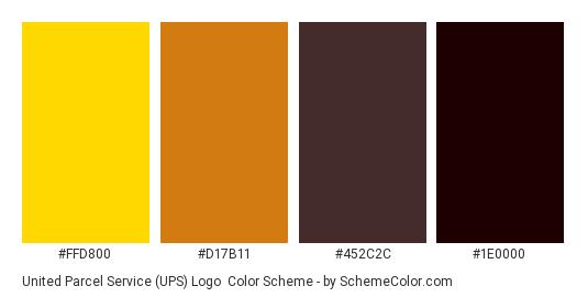 United Parcel Service (UPS) Logo - Color scheme palette thumbnail - #ffd800 #d17b11 #452c2c #1e0000