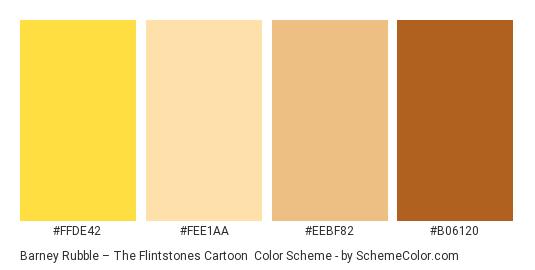 Barney Rubble – The Flintstones Cartoon - Color scheme palette thumbnail - #ffde42 #fee1aa #eebf82 #b06120