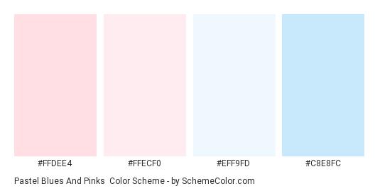 Pastel Blues and Pinks - Color scheme palette thumbnail - #ffdee4 #ffecf0 #eff9fd #c8e8fc