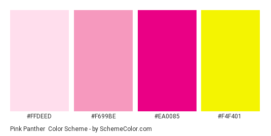 pink panther color scheme palette thumbnail ffdeed f699be ea0085 f4f401