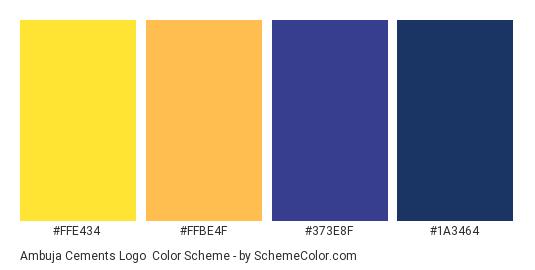 Ambuja Cements Logo - Color scheme palette thumbnail - #ffe434 #ffbe4f #373e8f #1a3464