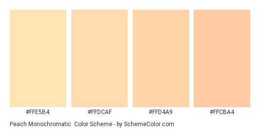 Peach Monochromatic - Color scheme palette thumbnail - #ffe5b4 #ffdcaf #ffd4a9 #ffcba4