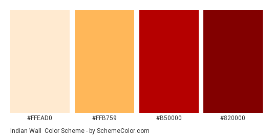 Indian Wall - Color scheme palette thumbnail - #ffead0 #ffb759 #b50000 #820000