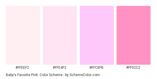 Baby S Favorite Pink Color Scheme Palette Thumbnail Ffeef2 Ffe4f3 Ffc8fb