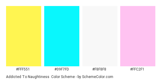 Addicted to Naughtiness - Color scheme palette thumbnail - #fff551 #09f7fd #f8f8f8 #ffc2f1