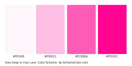How Deep is Your Love - Color scheme palette thumbnail - #fff6fb #ffbee3 #fc5bb6 #ff0592