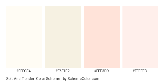 Soft and Tender - Color scheme palette thumbnail - #fffcf4 #f6f1e2 #ffe3d9 #ffefeb
