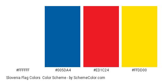 Slovenia Flag Colors - Color scheme palette thumbnail - #ffffff #005da4 #ed1c24 #ffdd00