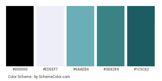 Blue-green Wave - Color scheme palette thumbnail - #2c445e #edeef7 #6aaeb6 #3b8284 #1c5c62