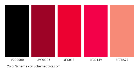 With Love - Color scheme palette thumbnail - #511c37 #9d0326 #ec0131 #f30149 #f78a77