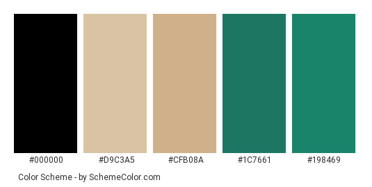 Green Beach - Color scheme palette thumbnail - #767383 #d9c3a5 #cfb08a #1c7661 #198469