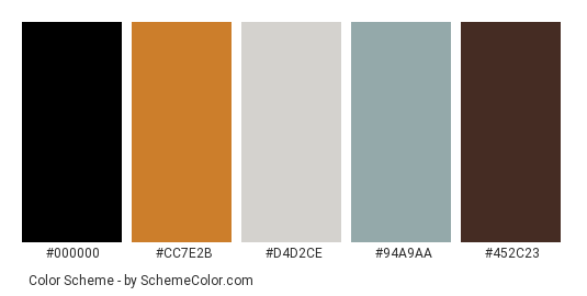 Colorful Lockers - Color scheme palette thumbnail - #a2292a #cc7e2b #d4d2ce #94a9aa #452c23