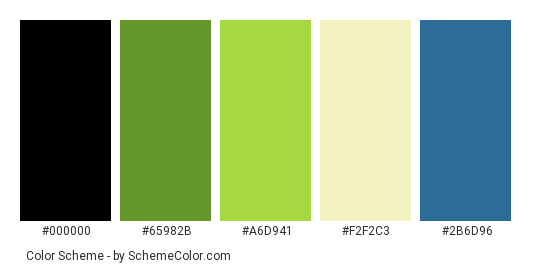 Those Days - Color scheme palette thumbnail - #f6e668 #65982b #a6d941 #f2f2c3 #2b6d96