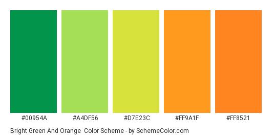 Bright Green And Orange Color Scheme Palette Thumbnail 00954a A4df56 D7e23c