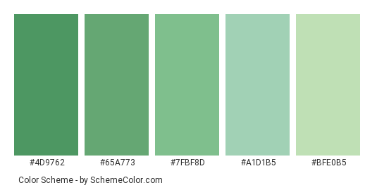 Succulent Green Color Scheme Palette Thumbnail 4d9762 65a773 7fbf8d A1d1b5