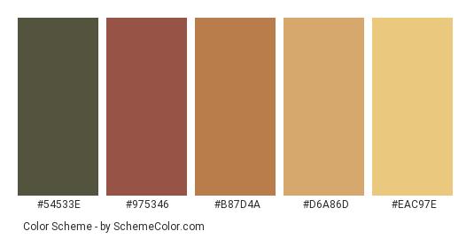 Fall Colors For All Color Scheme Palette Thumbnail 54533e 975346 B87d4a