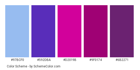 Pink Purple Gl Color Scheme Palette Thumbnail 97bcf0 592dba D2019b