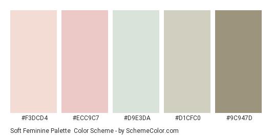 Soft feminine palette - Color scheme palette thumbnail - #f3dcd4 #ecc9c7  #d9e3da #