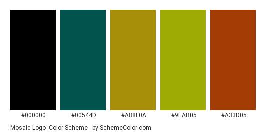 Mosaic Logo - Color scheme palette thumbnail - #000000 #00544d #a88f0a #9eab05 #a33d05