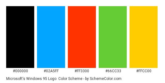 Microsoft's Windows 95 Logo - Color scheme palette thumbnail - #000000 #02A5FF #FF3300 #66CC33 #FFCC00