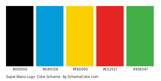 Super Mario Logo Color Scheme » Brand and Logo » SchemeColor com