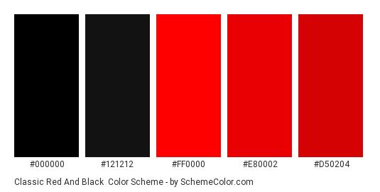 Classic Red and Black - Color scheme palette thumbnail - #000000 #121212 #ff0000 #e80002 #d50204