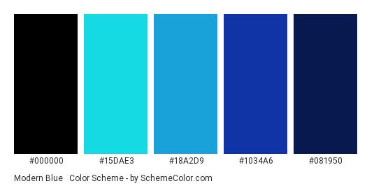 Modern Blue & Black - Color scheme palette thumbnail - #000000 #15DAE3 #18A2D9 #1034A6 #081950