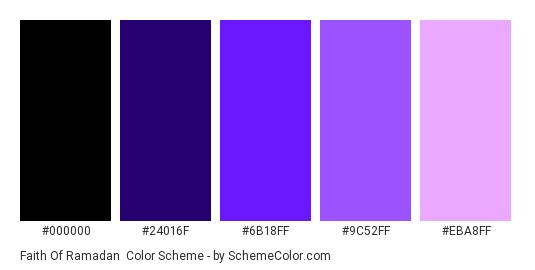 Faith of Ramadan - Color scheme palette thumbnail - #000000 #24016F #6B18FF #9C52FF #EBA8FF