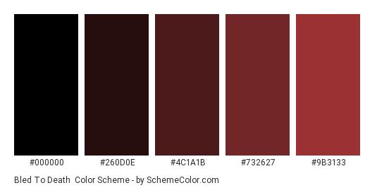 Bled to Death - Color scheme palette thumbnail - #000000 #260D0E #4C1A1B #732627 #9B3133