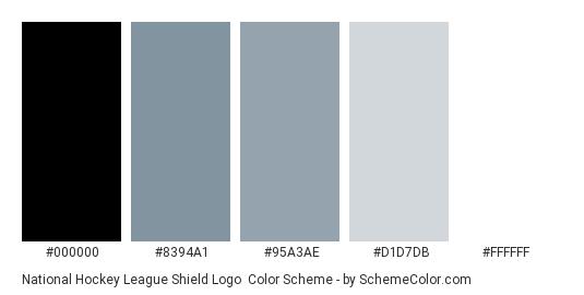 National Hockey League Shield Logo - Color scheme palette thumbnail - #000000 #8394a1 #95a3ae #d1d7db #ffffff