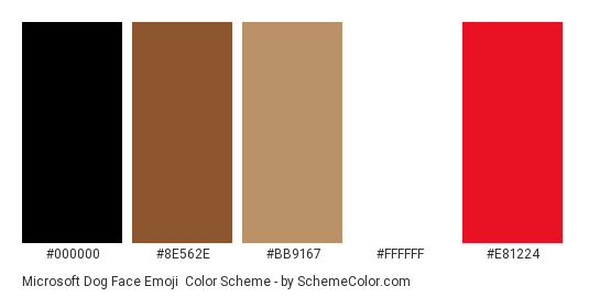 Microsoft Dog Face Emoji - Color scheme palette thumbnail - #000000 #8e562e #bb9167 #ffffff #e81224