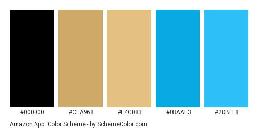 Amazon app - Color scheme palette thumbnail - #000000 #CEA968 #E4C083 #08AAE3 #2DBFF8