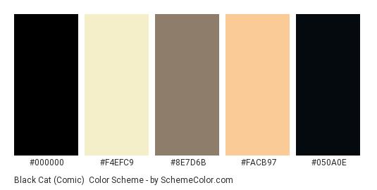 Black Cat (Comic) - Color scheme palette thumbnail - #000000 #F4EFC9 #8E7D6B #FACB97 #050A0E