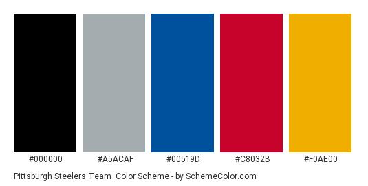 Pittsburgh Steelers Team - Color scheme palette thumbnail - #000000 #a5acaf #00519d #c8032b #f0ae00