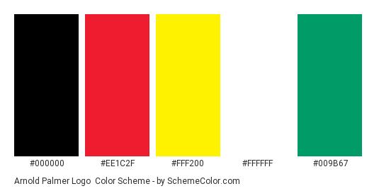Arnold Palmer Logo - Color scheme palette thumbnail - #000000 #ee1c2f #fff200 #ffffff #009b67