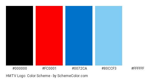 HMTV Logo - Color scheme palette thumbnail - #000000 #fc0001 #0072ca #80ccf3 #ffffff