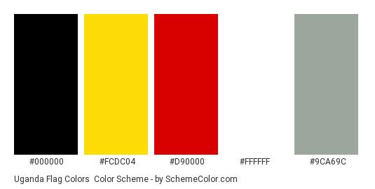Uganda Flag Colors - Color scheme palette thumbnail - #000000 #fcdc04 #d90000 #ffffff #9ca69c