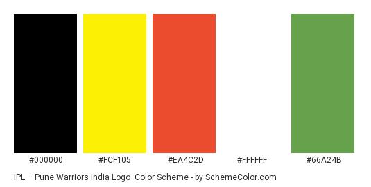 IPL – Pune Warriors India Logo - Color scheme palette thumbnail - #000000 #fcf105 #ea4c2d #ffffff #66a24b